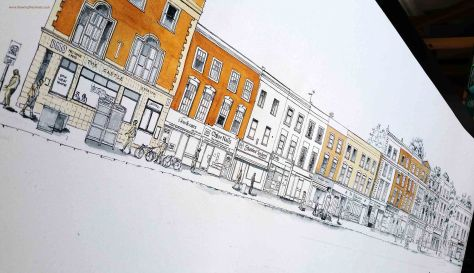 new drawing of Hollway road on water colour paper