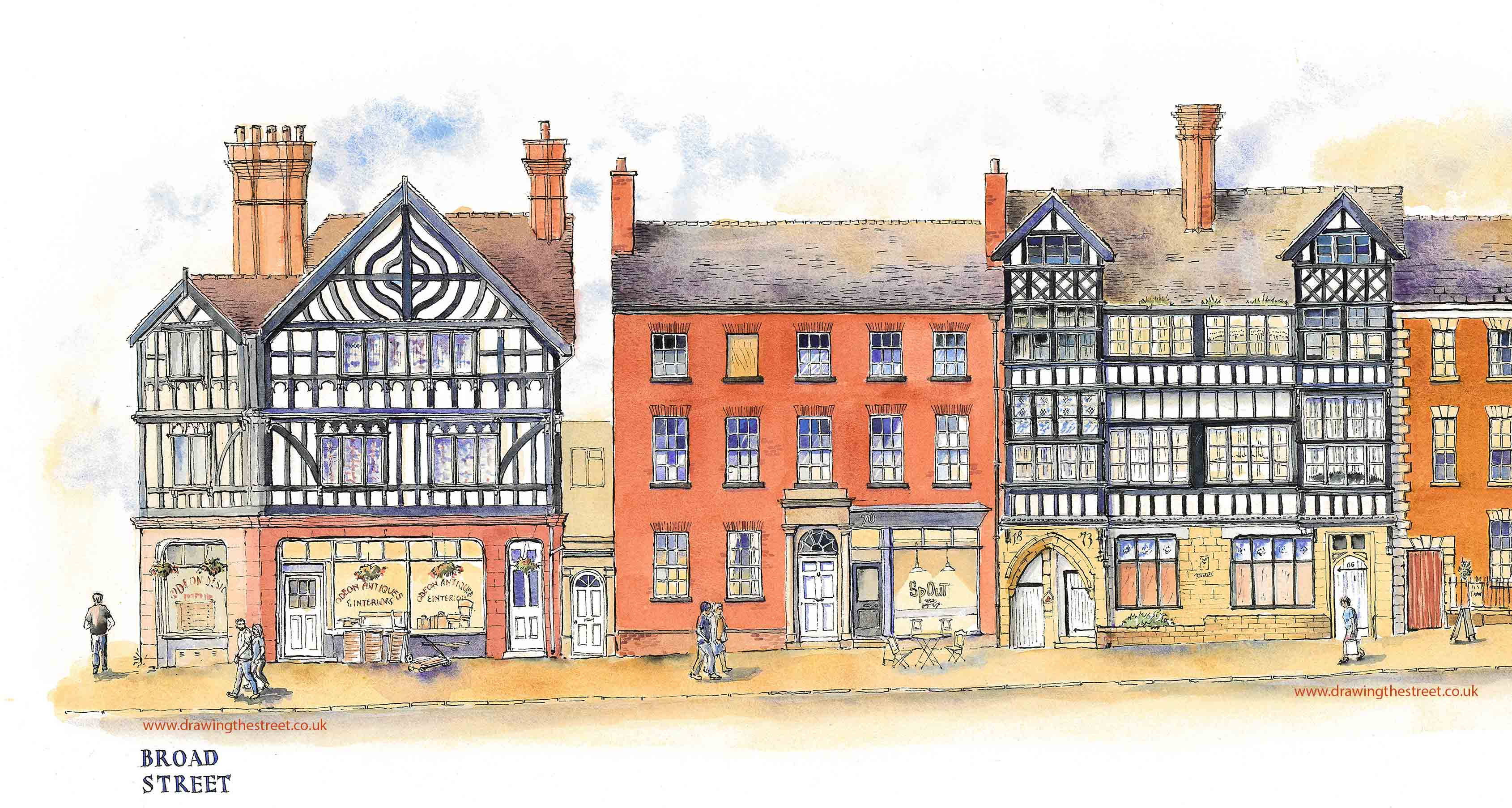 Drawing the street in Leek Staffordshire