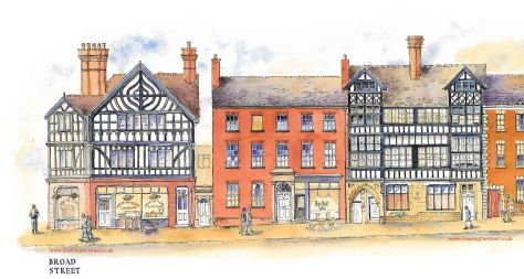 Drawing the street in Leek Staffordshire