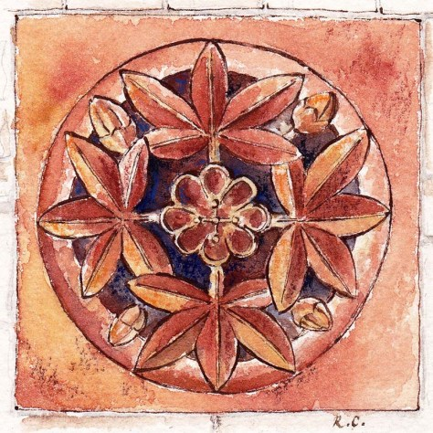 Pen and ink stetch of terracotta tile newcastle Staffordshire Cruwys