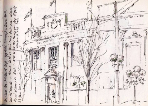 Sketch book view of Islington Town Hall