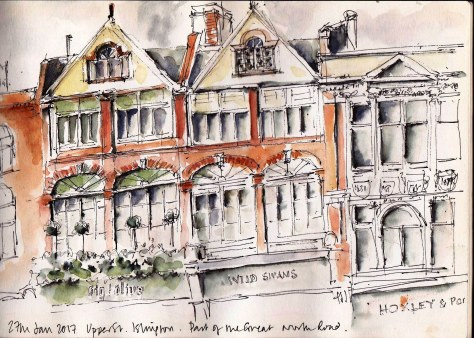 pen and ink and wash in sketchbook of Upper St Islington