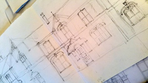 pencil sketch of architecture in fenton Stoke on trent