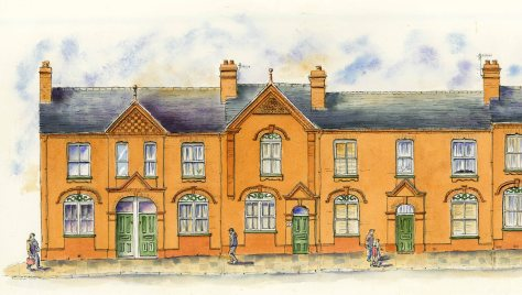 red brick terrace in Fenton Stoke on Trent drawn by artist Ronnie Cruwys