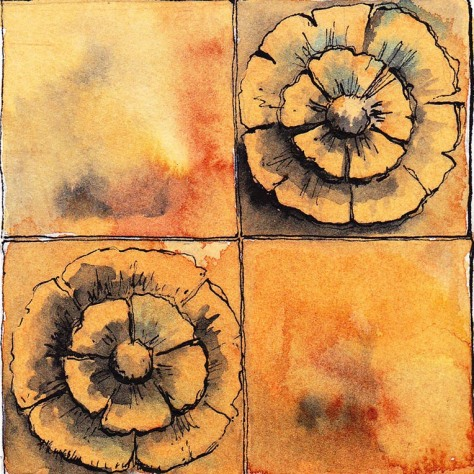 Pen and ink drwing of Victorian terracotta tile rosettes
