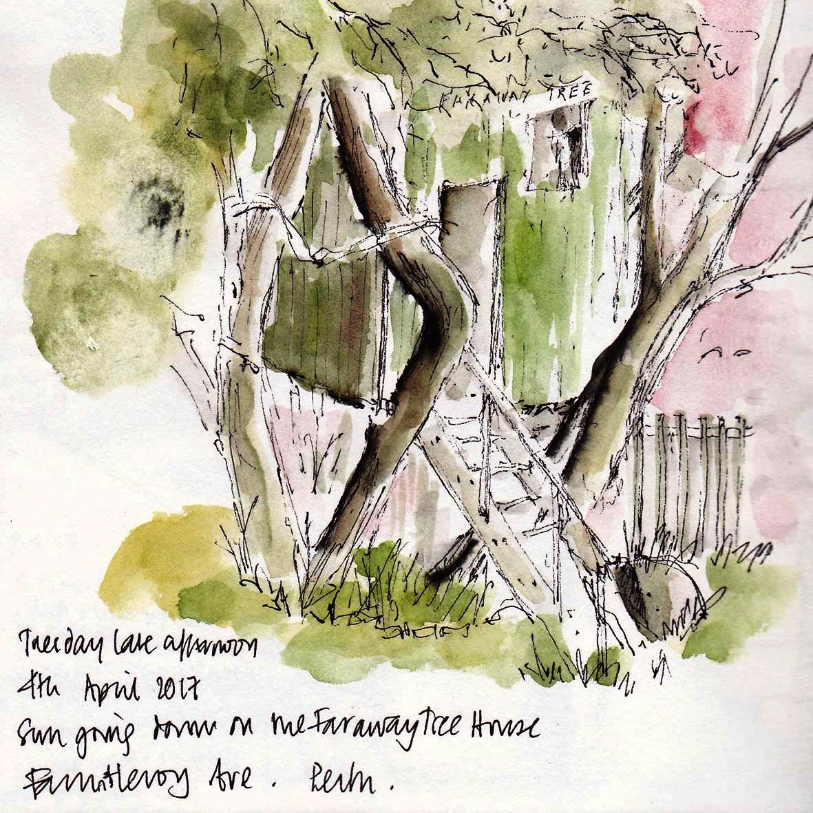 sketch of the tree house