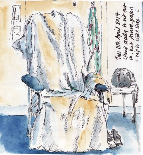 sketch of chair in Fiona Stanely hospital
