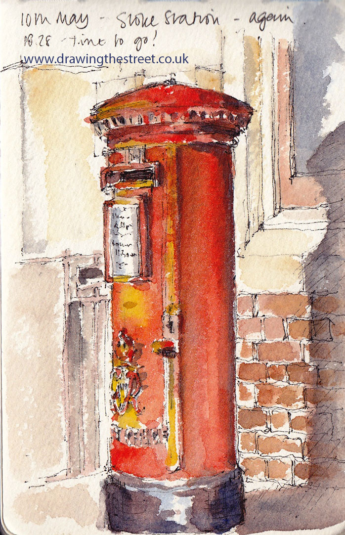 Letterbox drawing in pen and ink on Stoke station by Ronnie Cruwys