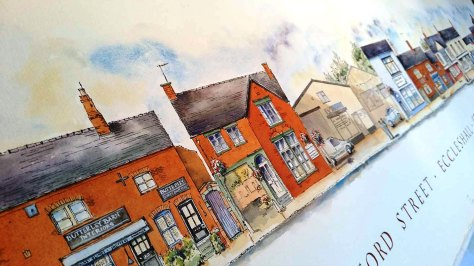 pen and ink illustration of Eccleshall Staffordshire