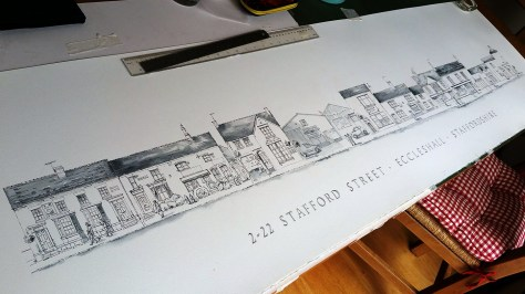 pen and ink drawing of eccleshall