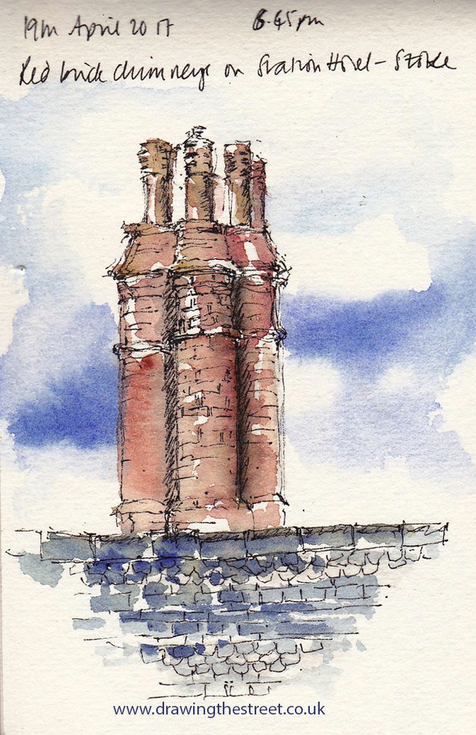 Pen and ink andwatercolour sketch of Victorian chimneys over Stoke Station Hotel
