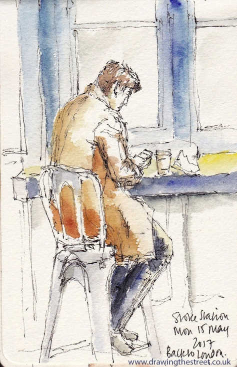 pen and ink sketch of a chap in Stoke Station
