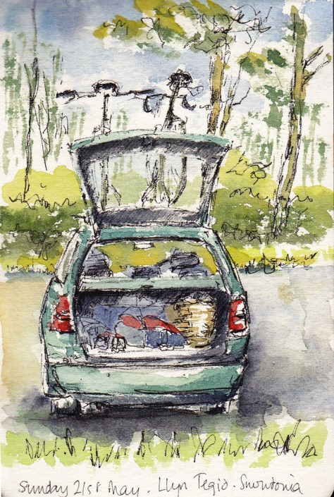 sketch of the car at picnic spot in Wales