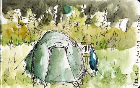 pen and ink sketch of tent