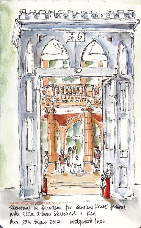 sketch of Burslem School of Art from the Wedgwood Institute