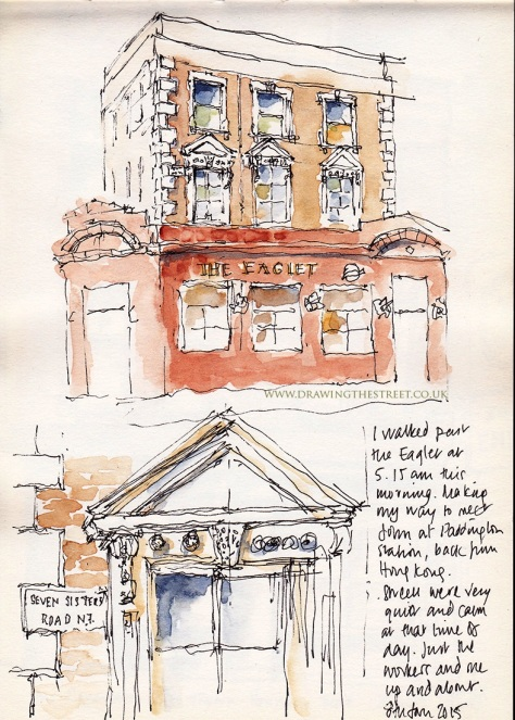 sketch of the Eaglet pub on Seven sisters Road London
