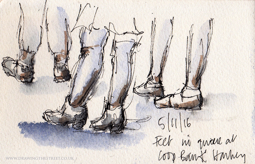 sketch of feet in Stoke on Trent
