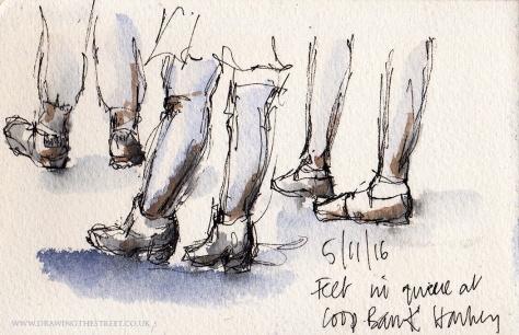sketch of feet in Stoke on Trent