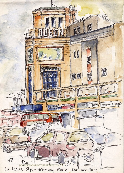 Pen and ink drawing of the Odeon cinema Holloway road