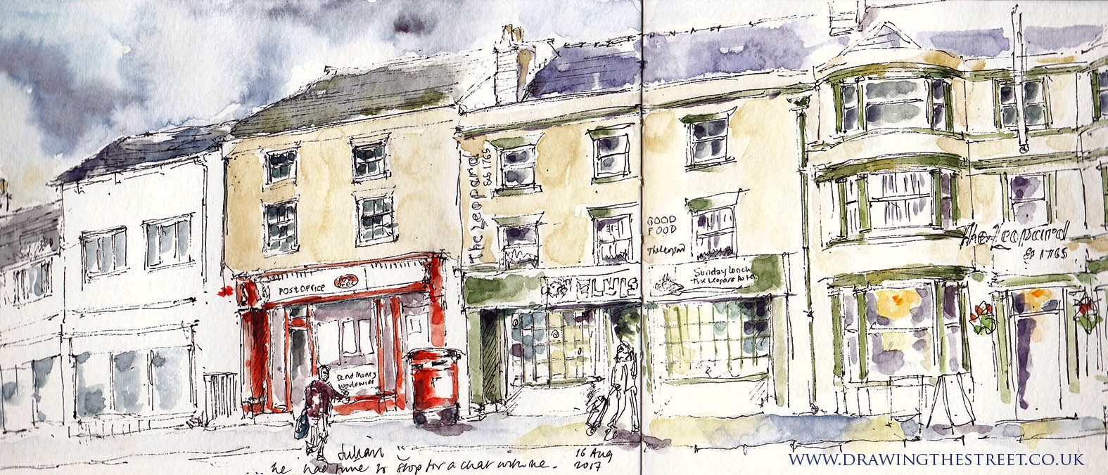 urban sketch of the Leopard Burslem