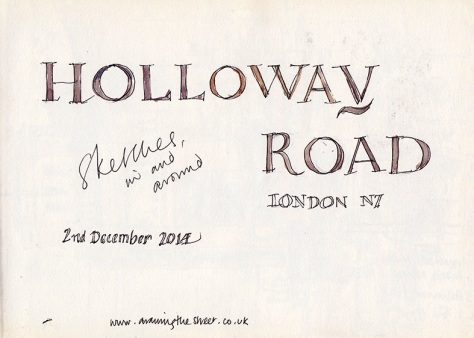 Page in sketchbook for Holloway Road