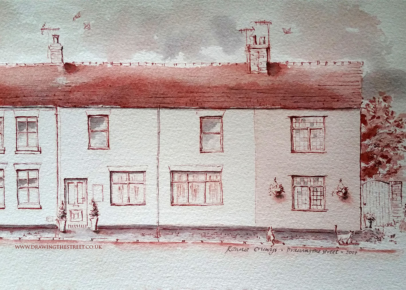 pen and ink drawing baldwins gate station cottages