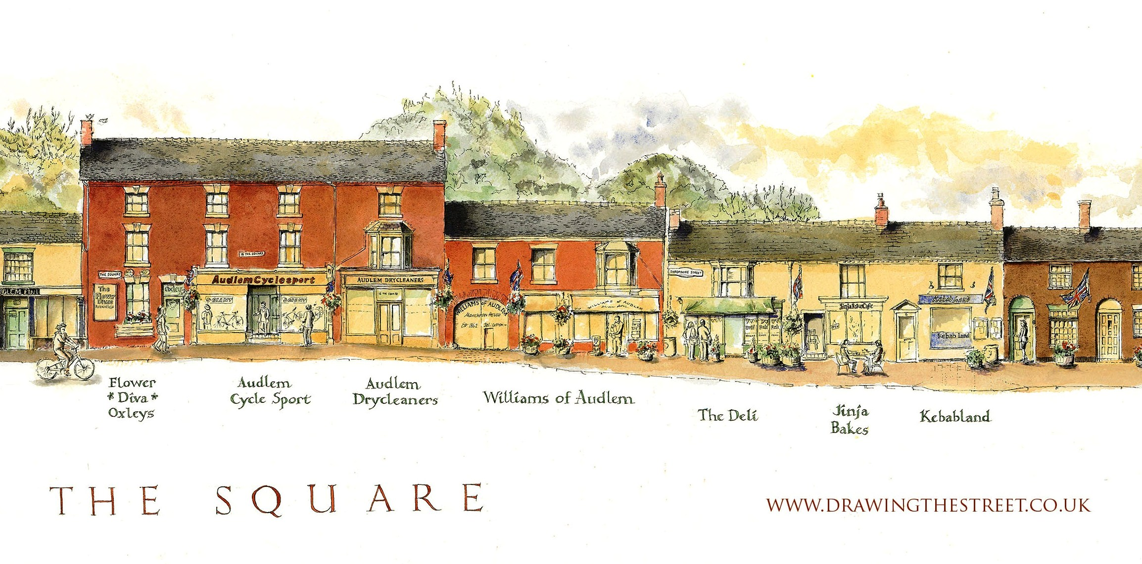section of limited edition print audlem drawing the street