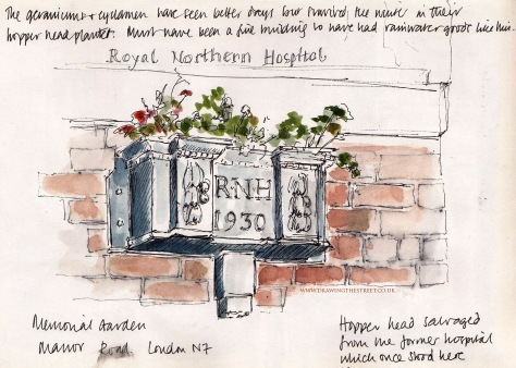 sketch of rainwater hopper Manor Road Holloway