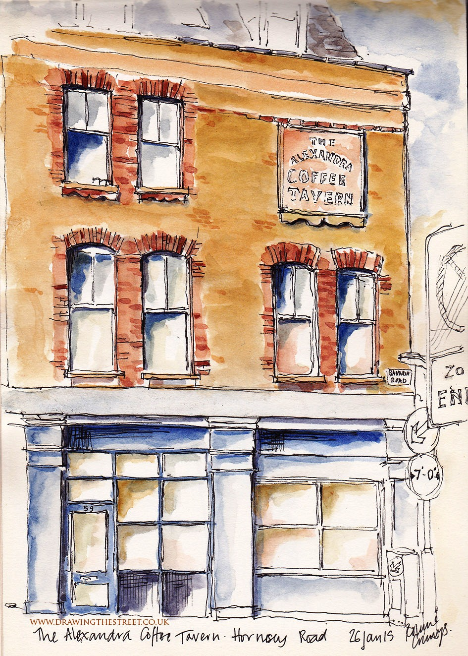 Sketch of the Alexandra Coffee tavern Bavaria Road