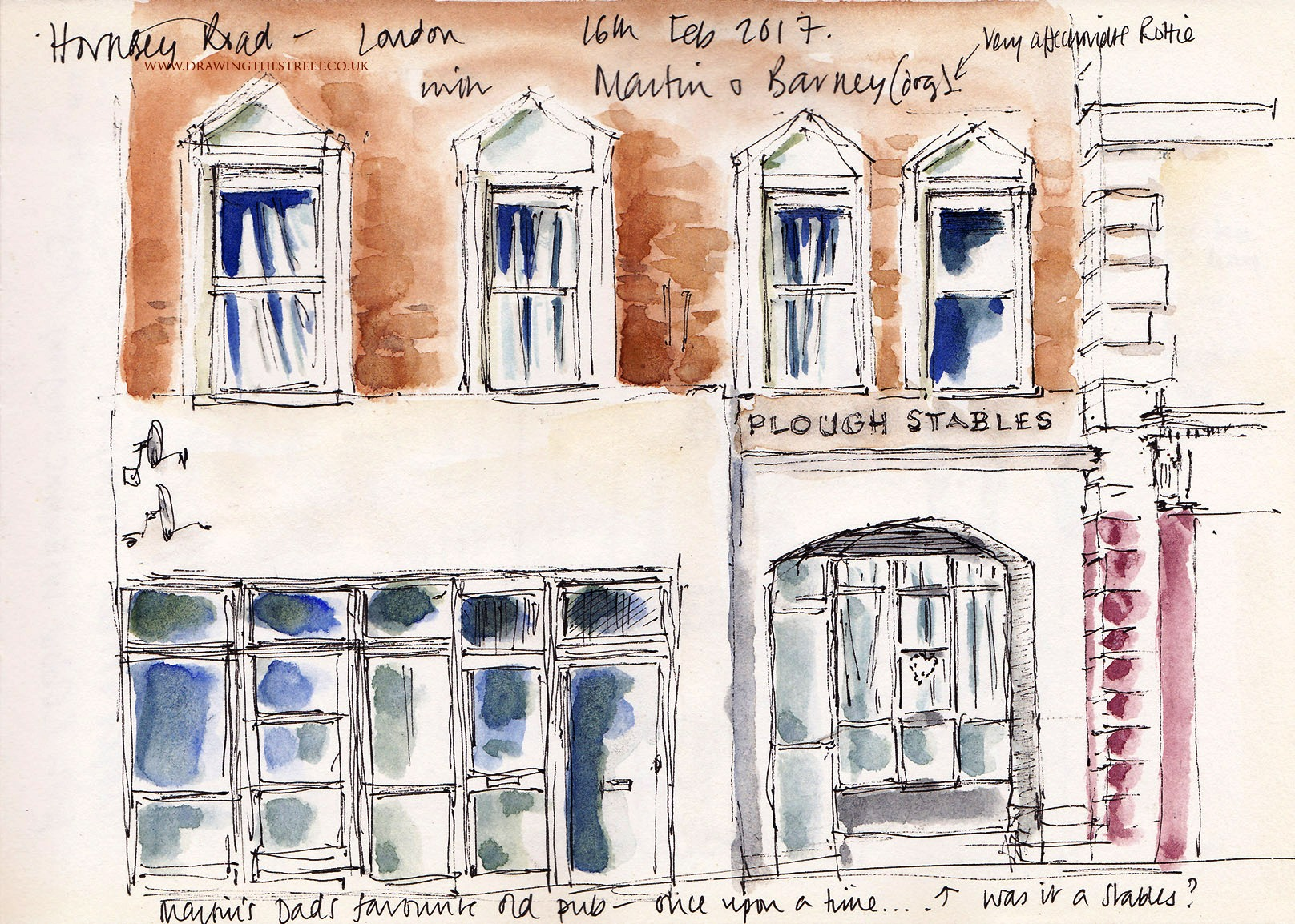sketch of Plough Stables Hornsey Rd London N7