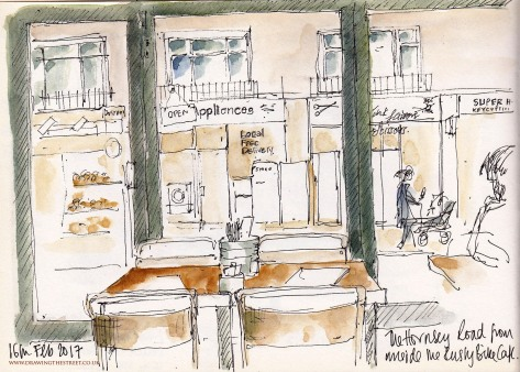 sketch inside Rusty Bike Cafe, Hornsey Road