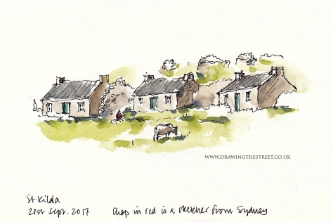 pen and ink sketch of st kilda village