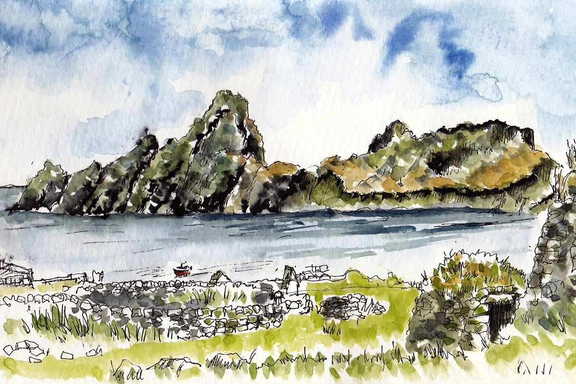 pen ink and wash of Dun St Kilda