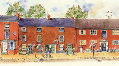 pen and ink drawing of Eccleshall by Ronnie Cruwys