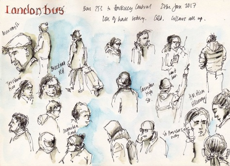 quick sketches from London bus