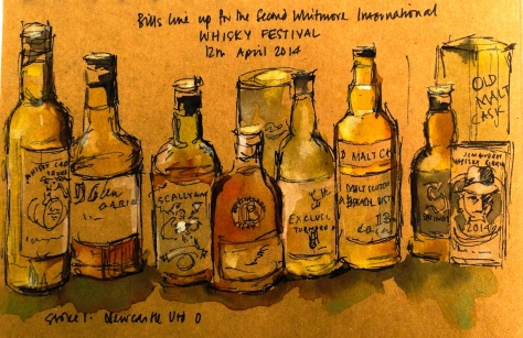 sketch of whisky festival by Ronnie Cruwys