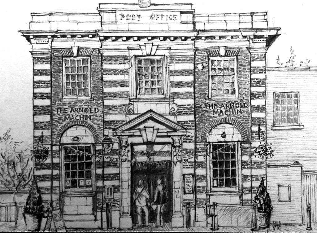 pencil sketch of Arnold Machin pub Newcastle under Lyme