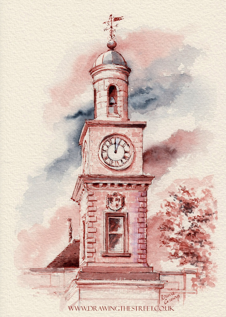 pen and ink drawing of clock tower above the Guildhall, High Street, Newcastle-under-Lyme by ronnie cruwys artist