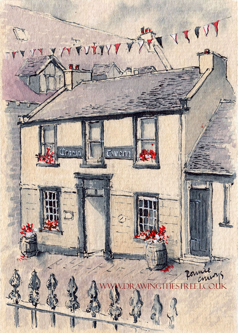 Pen and ink drawing of the crown tavern hope street lanark