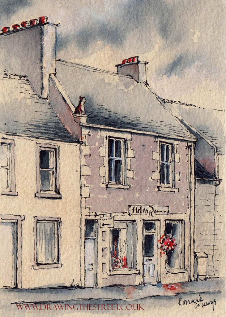 pen and ink drawing of girnin dog lanark by ronnie cruwys artist scotland